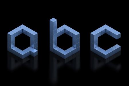 letter box: cubical 3d font letters a b c