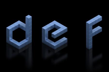 letter box: cubical 3d font letters d e f