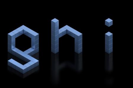 cubical: cubical 3d font letters g h i