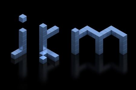 cubical: cubical 3d font letters j k m Stock Photo
