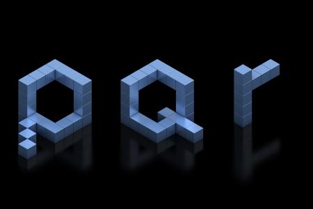 cubical: cubical 3d font letters p q r Stock Photo
