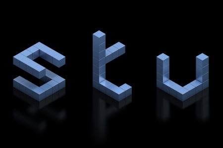 s shape: cubical 3d font letters s t u