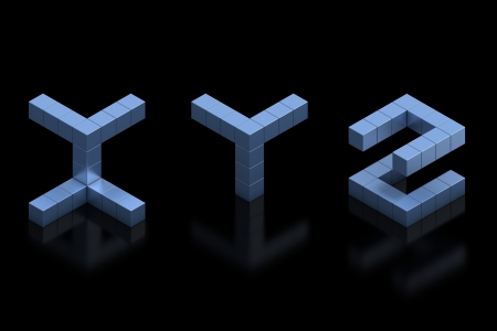 cubical 3d font letters x y z photo