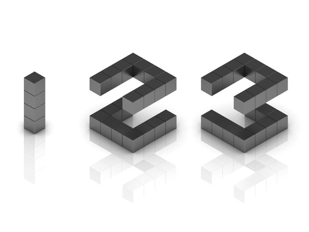 cubical: cubical 3d font numbers 1 2 3 Stock Photo