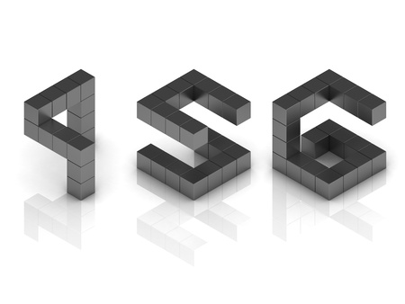 4 5: cubical 3d font numbers 4 5 6 Stock Photo