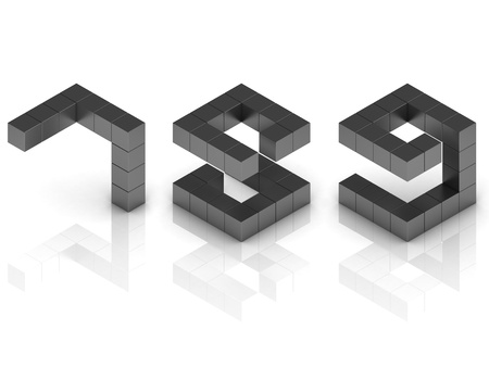 cubical 3d font numbers 7 8 9 photo