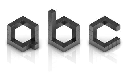 letter b: cubical 3d font letters a b c
