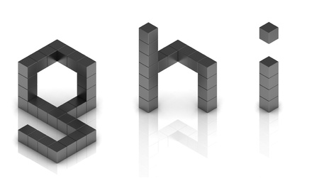 cubical 3d font letters g h i photo