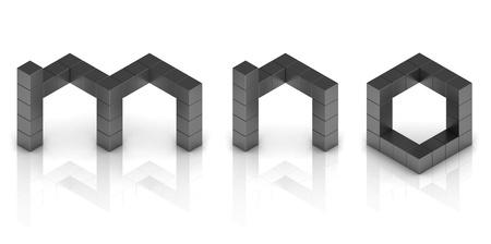 cubical: cubical 3d font letters m n o Stock Photo