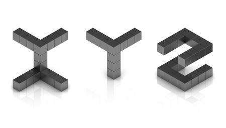 letter z: cubical 3d font letters x y z