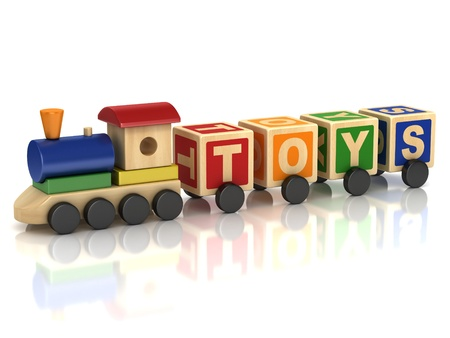 wood railroad: Wooden train toy with colorful letter blocks Stock Photo