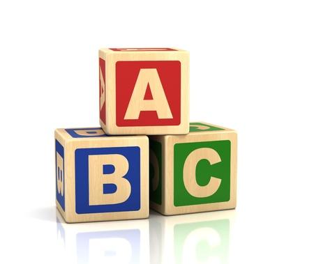 group b: alphabet concept - ABC cubes on a white background