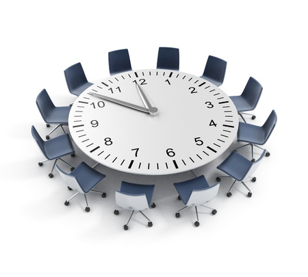 conference room: round table meeting deadline