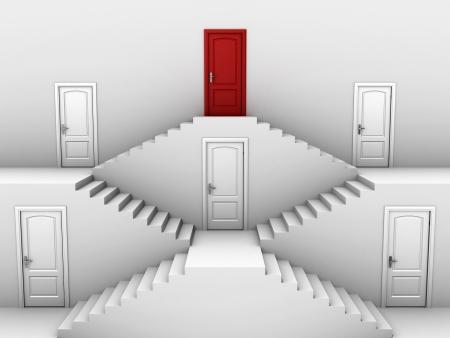 door casing: vertical hierarchy - doors on different levels
