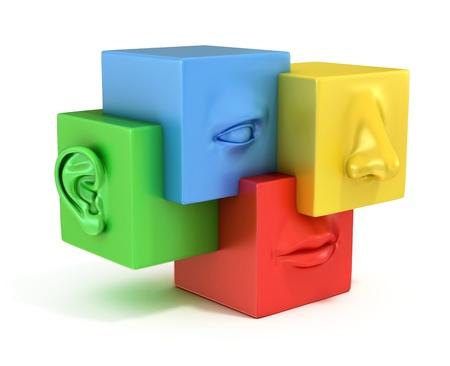 Abstrakte menschliche Gesicht 3D-Darstellung Standard-Bild - 19776262