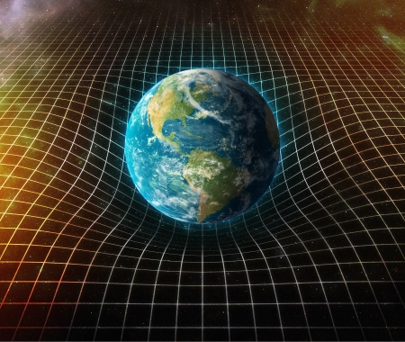 cosmology: earth s gravity bends space around it  Stock Photo