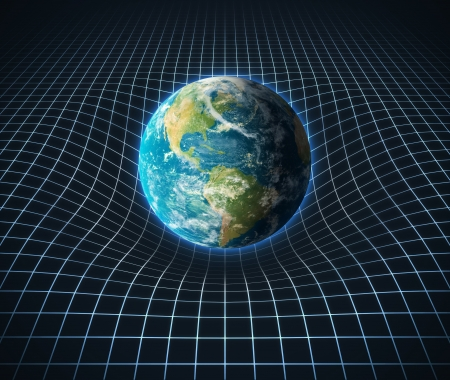 bend: earth s gravity bends space around it  Stock Photo