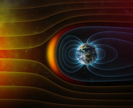planet Earth s magnetic field against Sun s solar wind   Stock Photo