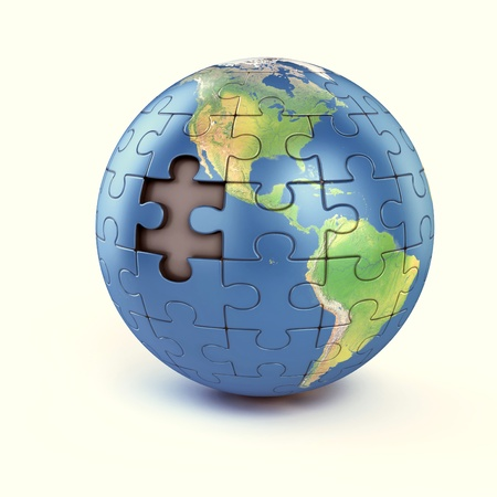 patience: puzzle earth with missing piece  Stock Photo