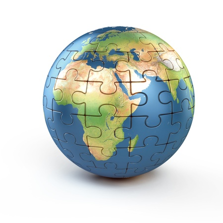 world ball: puzzle planet earth Stock Photo