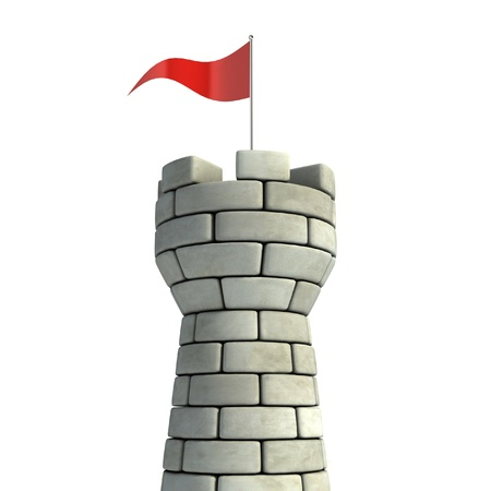 moat wall: tower with flag 3d illustration