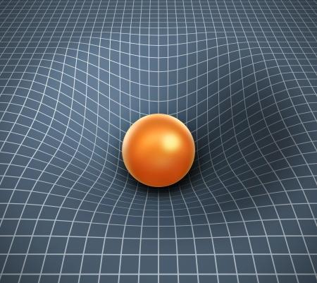 gravedad: gravedad 3d - objeto afectar el espacio-tiempo Foto de archivo