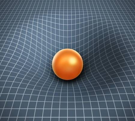 cosmology: gravity 3d illustration - object affecting space   time Stock Photo