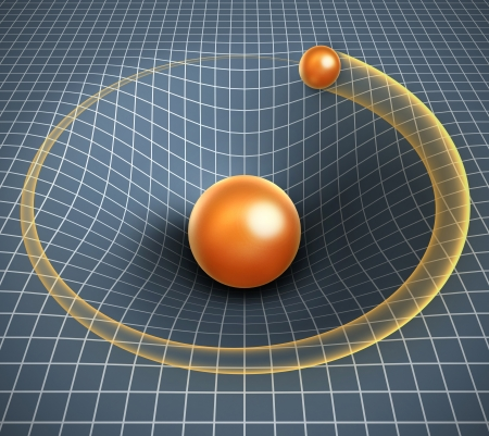 cosmology: gravity 3d illustration - object affecting space   time and other objects motion