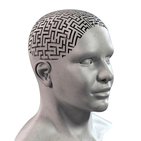 human head 3d maze photo