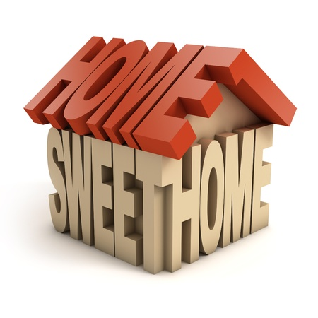 moving home: home sweet home 3d letters Stock Photo