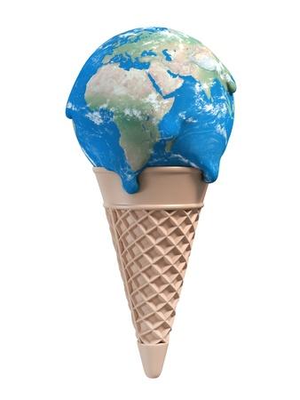 contaminacion ambiental: helado se derrite la tierra - 3d concepto calentamiento global