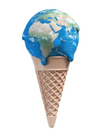 warming: ice cream earth melts - global warming 3d concept Stock Photo