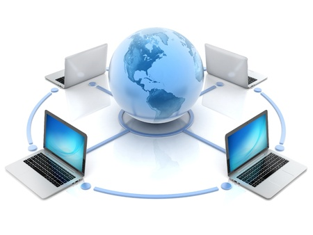 internet, global network, computers around globe Stock Photo - 19776289