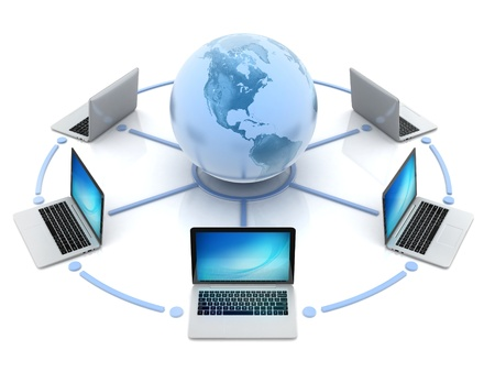 internet, global network, computers around globe