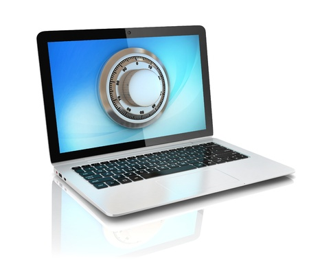 data security - laptop with safe Stock Photo - 19776308