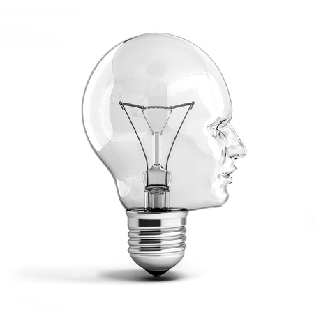 human head light bulb 3d illustration illustration