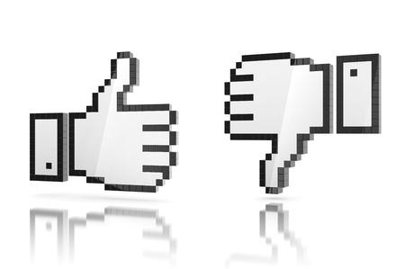 like - dislike thumbs up - thumbs down 3d icon photo