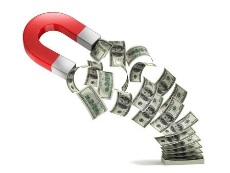 magnetismo: dinero concepto 3d imán