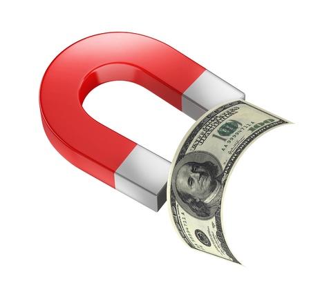 business symbols metaphors: money magnet 3d concept Stock Photo