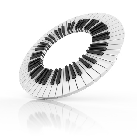 synthesizer: abstract piano 3d illustration