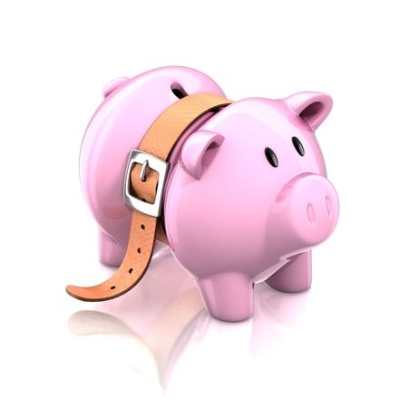 budget crisis: piggy bank with tighten belt