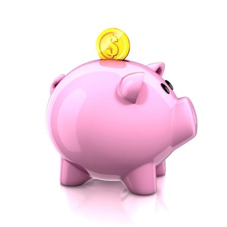 piggy bank with golden coin photo