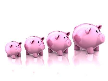 retirement savings: piggy banks savings growth 3d illustration Stock Photo