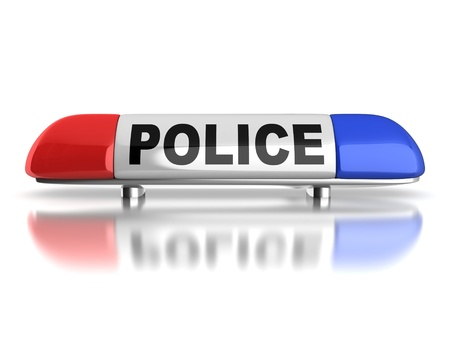 guard: police car emergency lights Stock Photo