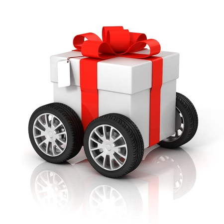 delivery package: gift box on wheels