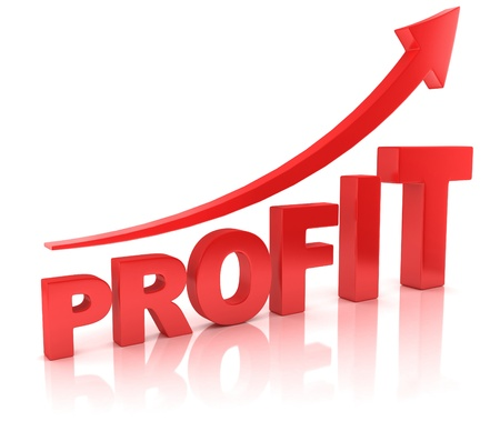 stock market graph: profit graph with arrow Stock Photo