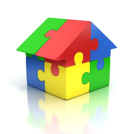 house icon: puzzle house 3d illustration