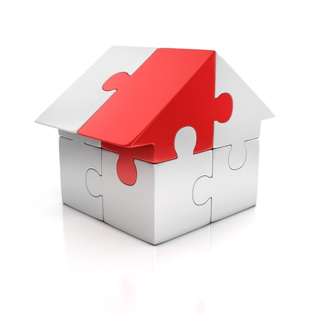model houses: puzzle house one red piece 3d illustration