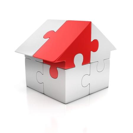 investment solutions: rompecabezas de casa de una sola pieza de color rojo 3d