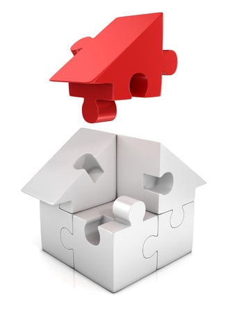 house mortgage: jigsaw house 3d illustration Stock Photo